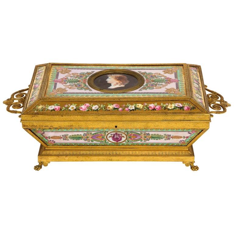 Important Empire Period Paris Porcelain & Ormolu-Mounted Casket/Box/Jewelry Box For Sale