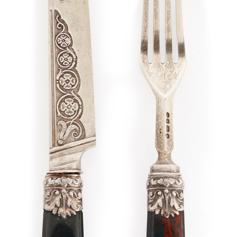 Early Victorian Important English Silver Flatware Service by Francis Higgins II For Sale