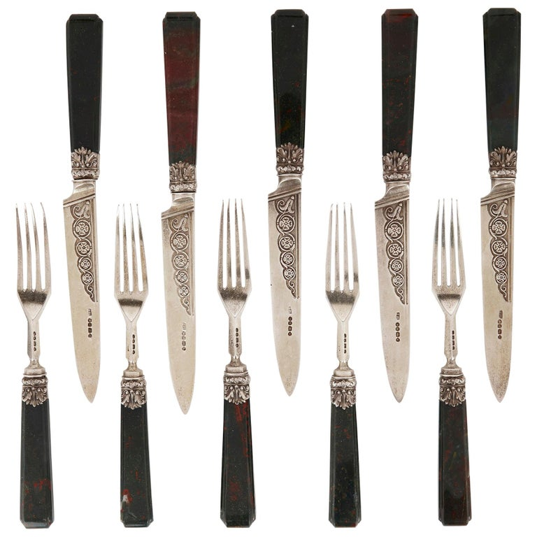 Important English Silver Flatware Service by Francis Higgins II For Sale