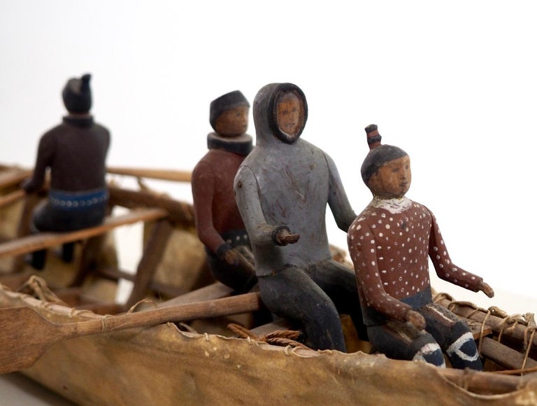 Greenlandic Important Eskimo Miniature Boat, with Carved and Original Painted Wood Figures