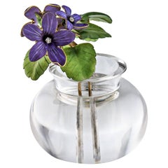 Important Faberge Diamond Gold Enamel Violets in Rock Crystal Vase
