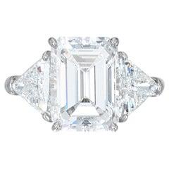 Important Flawless GIA Certified 5.01 Carat Emerald Cut Diamond Platinum Ring