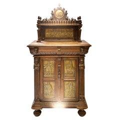 Important Flemish Cabinet 18th Century Emanuel Van Meteren's Brass Plates