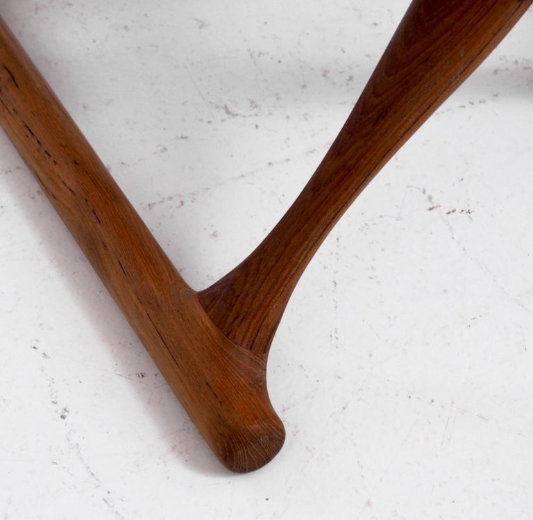 Danish Important Folding Stool by Poul Hundevad in Teak and Leather For Sale