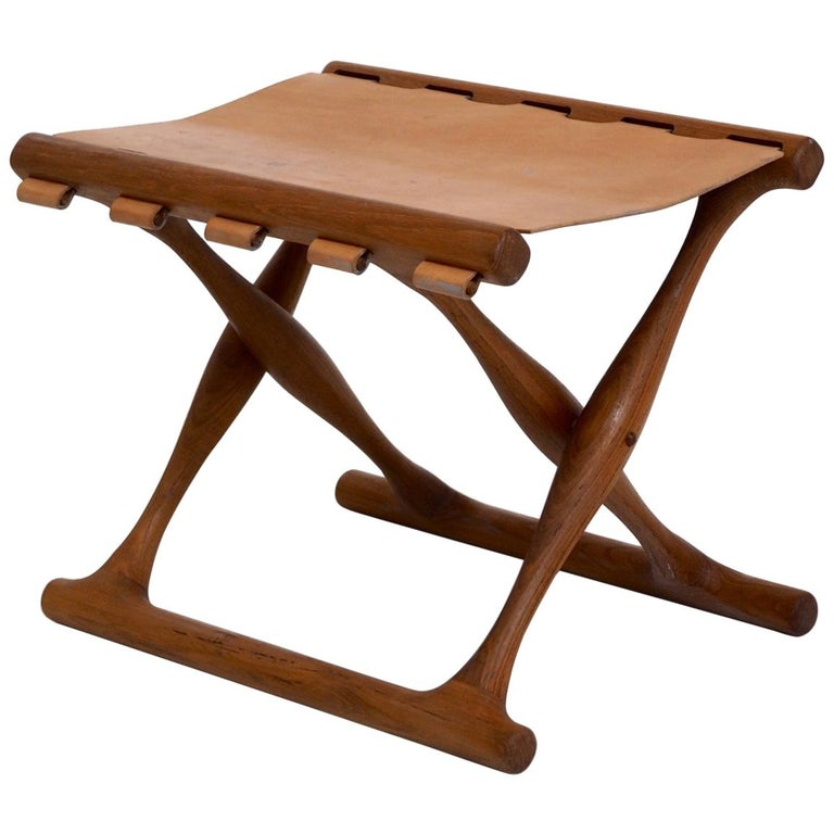 Important Folding Stool by Poul Hundevad in Teak and Leather For Sale