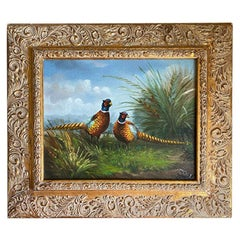 Important Framed Rectangular Pheasant Painting with Giltwood Gold Frame, Signed
