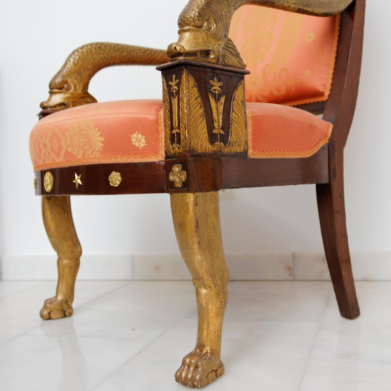 Mahogany Important French Empire Early 19th Century Armchair For Sale