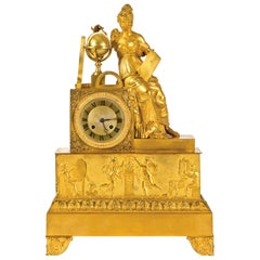 Important French Empire Table Clock, 19th Century
