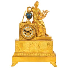 "Important French Empire Table Clock ""Lady with Harp"" Sign"