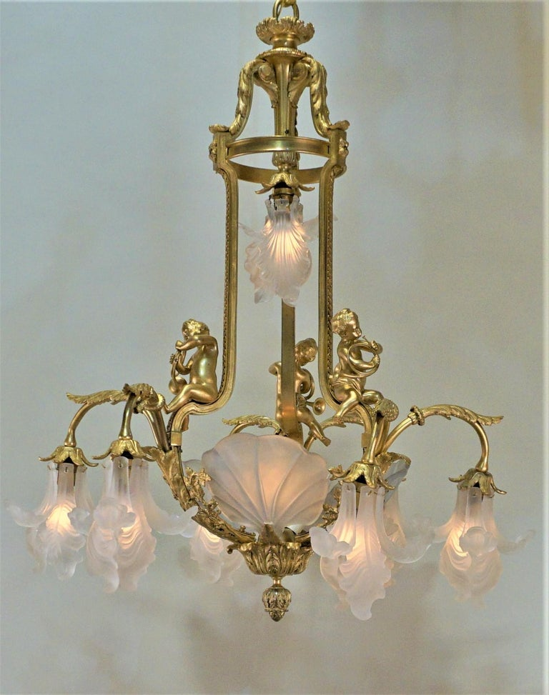 Important French Gilt Bronze Chandelier, Early 20th Century by E. Mottheau In Good Condition For Sale In Fairfax, VA