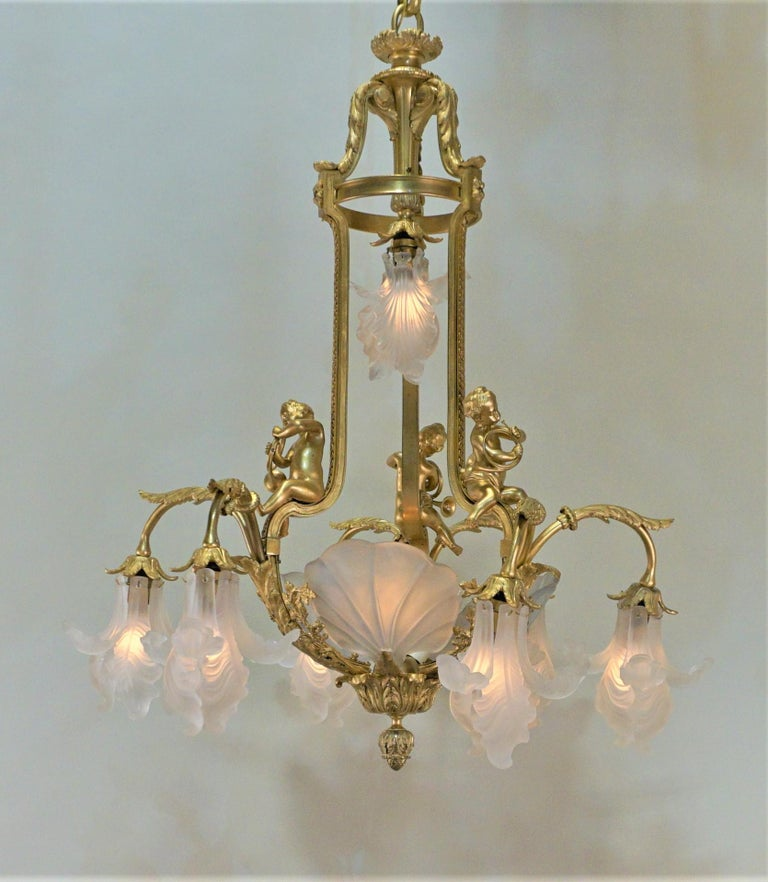 Important French Gilt Bronze Chandelier, Early 20th Century by E. Mottheau For Sale 1