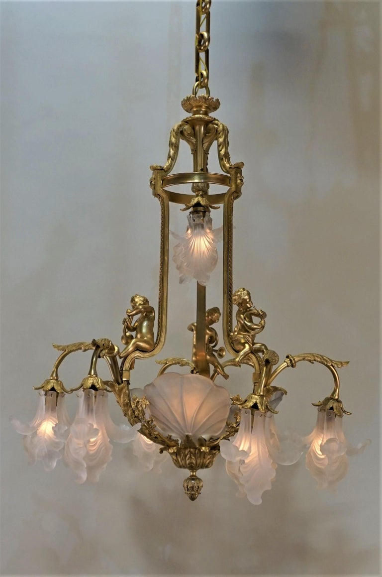 Important French Gilt Bronze Chandelier, Early 20th Century by E. Mottheau For Sale 2