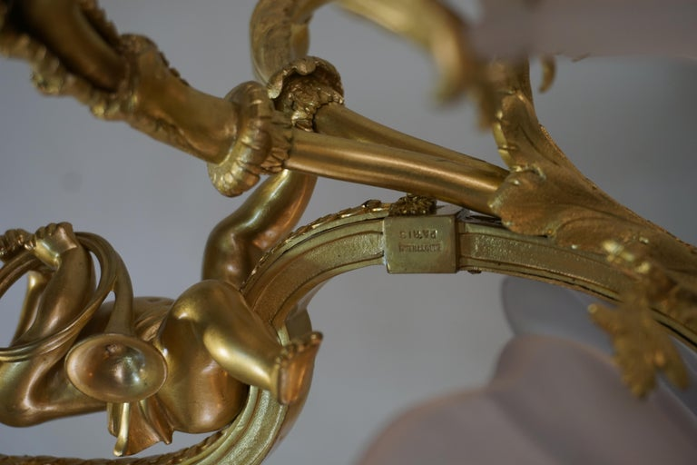 Important French Gilt Bronze Chandelier, Early 20th Century by E. Mottheau For Sale 6