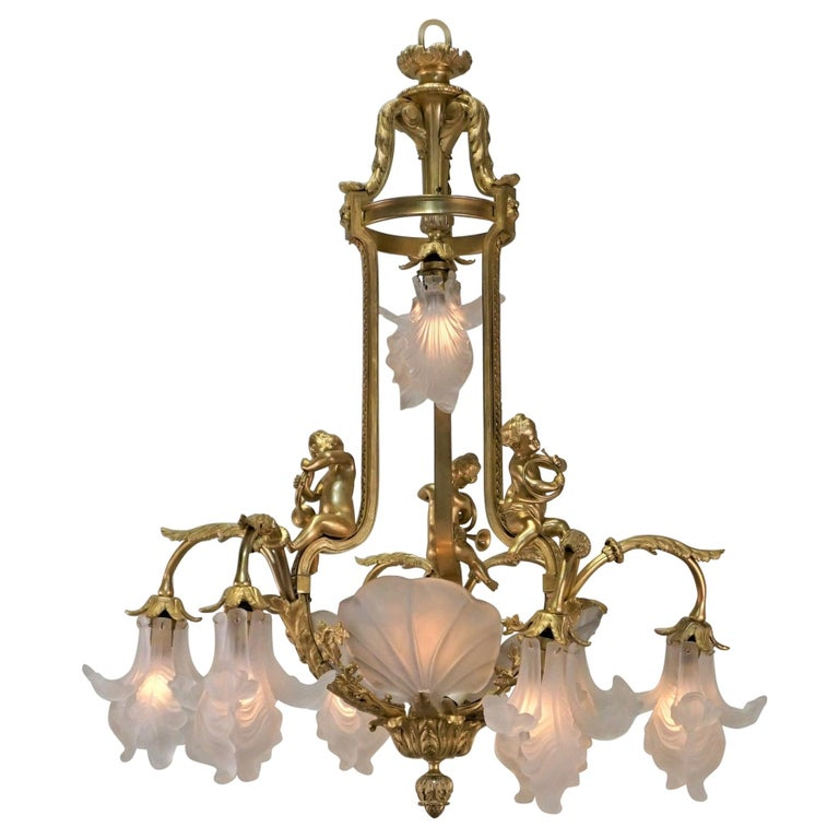 Important French Gilt Bronze Chandelier, Early 20th Century by E. Mottheau For Sale