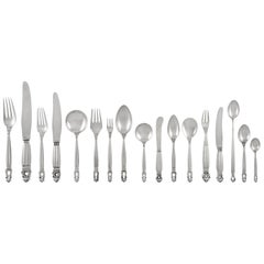 Important Georg Jensen Silverware Service in a Fitted Sideboard