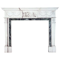 Important George III Style Carved White Marble Fireplace, circa 1900