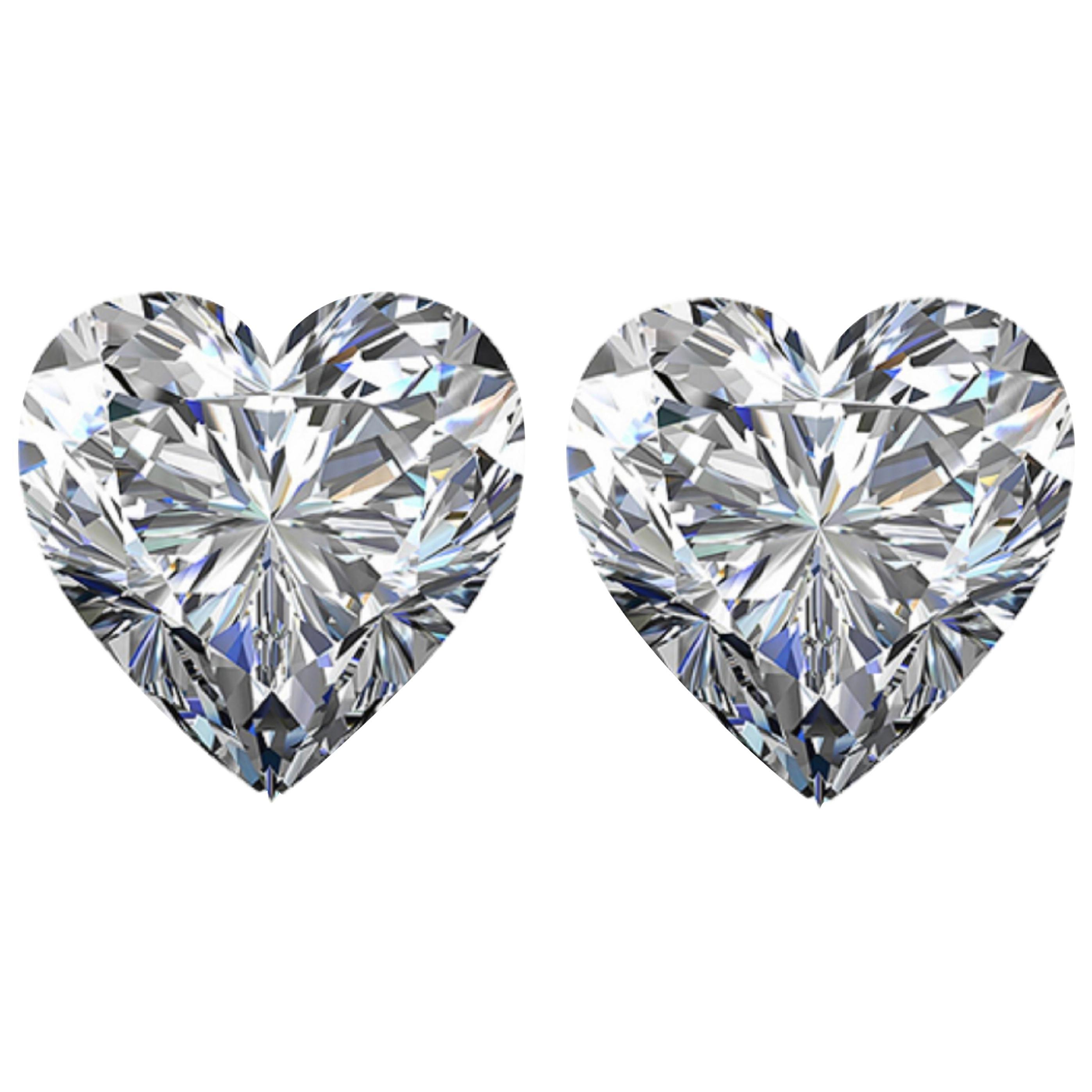 I FLAWLESS/ VVS GIA Certified 4 Carat Heart Shape Cut Diamond Studs