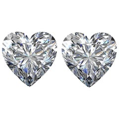 GIA Certified 6 Carat Heart Shape Cut Diamond Studs