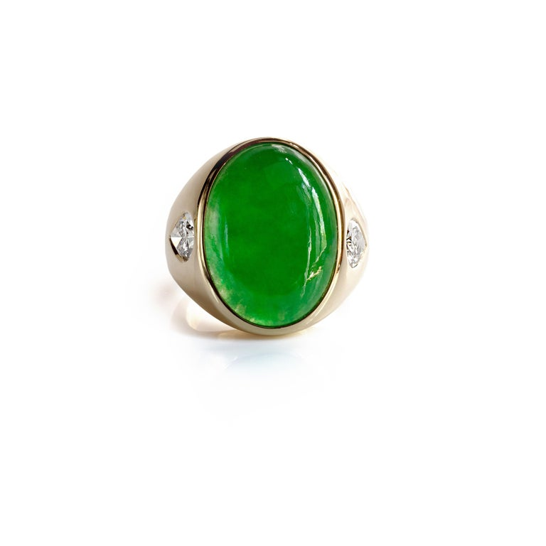 Jade Ring with Diamonds circa 1965 GIA Certified Untreated For Sale 10