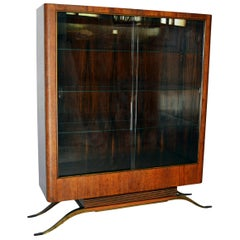 Important Glass Case by Eugene Printz, Front Lined with Snake Skin, 1930s-1940s