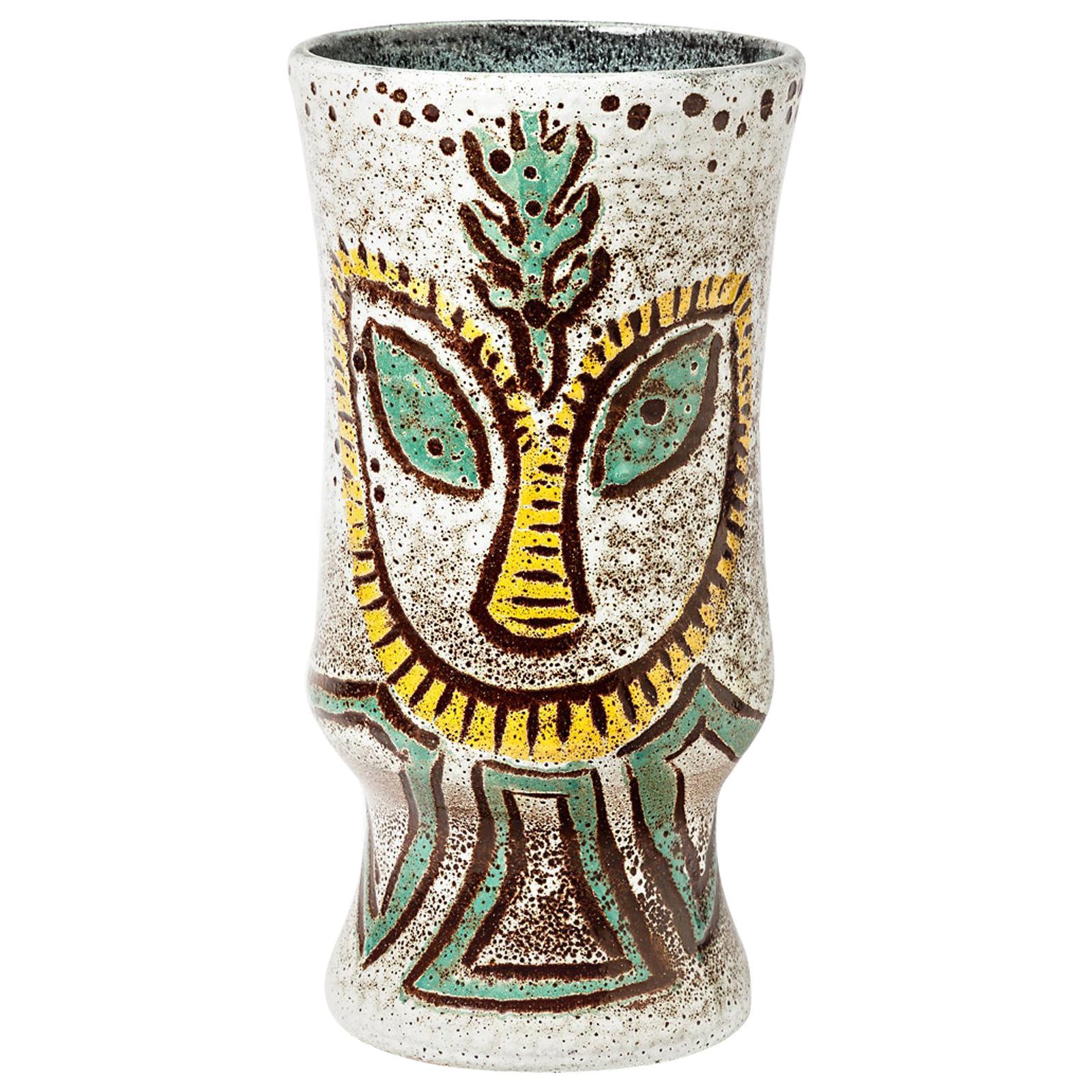 Important Grey Accolay Ceramic Vase Visage Decoration French Pottery