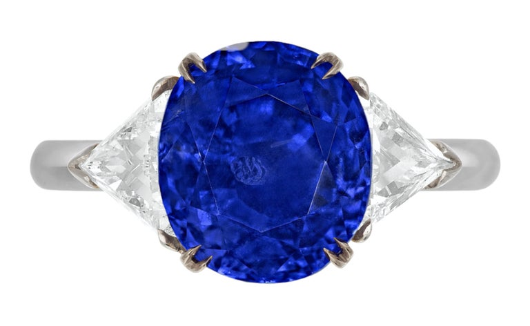Antinori Fine Jewels is proud to offer this important sapphire and diamond ring, handmade in Italy and set in solid platinum   It is a truly remarkable gem, all the more exceptional because it has been plucked from atop the high peaks of the