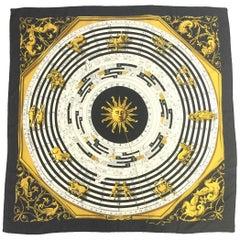 Important Hermes Astrologie Dies et Hors Silk Scarf by Francoise Faconne