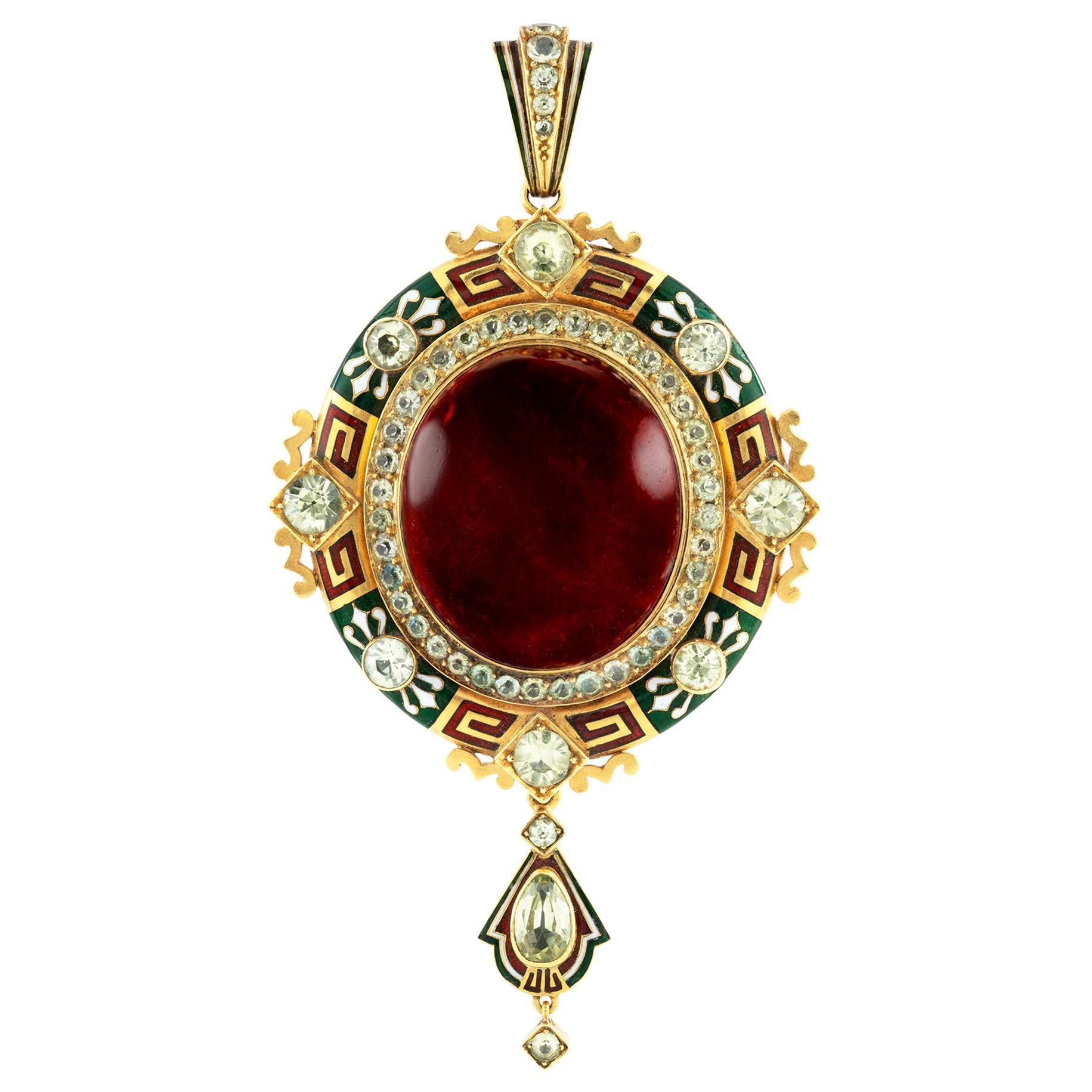 Important Holbeinesque Garnet and Enamel Pendant