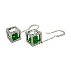 Important Imperial Jade Beads & Diamond Earrings, Collector's Imperial Green