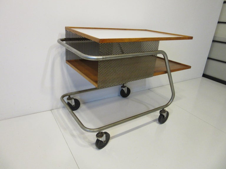 Metal Important Industrial Styled Bar Cart by Franziska & James Hosken For Sale