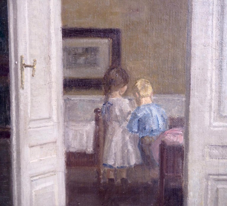 Danish Important Interior Painting of Boy and Girl, Style of Wilhelms Hammershøj For Sale