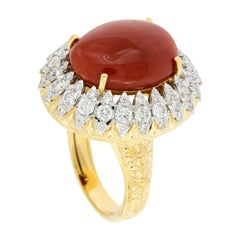 Important Italian 18 Karat Gold Coral and Diamond Ring