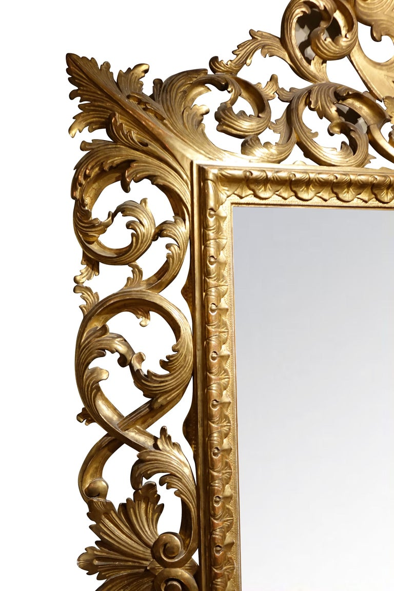 Baroque Important Italian 19th Century  Pediment Giltwood Mirror For Sale