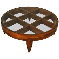 Important Italian Modern Walnut and Glass Low Table
