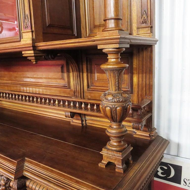 Walnut Important Italian Renaissance Sideboard Cabinet, Late 19th Century For Sale