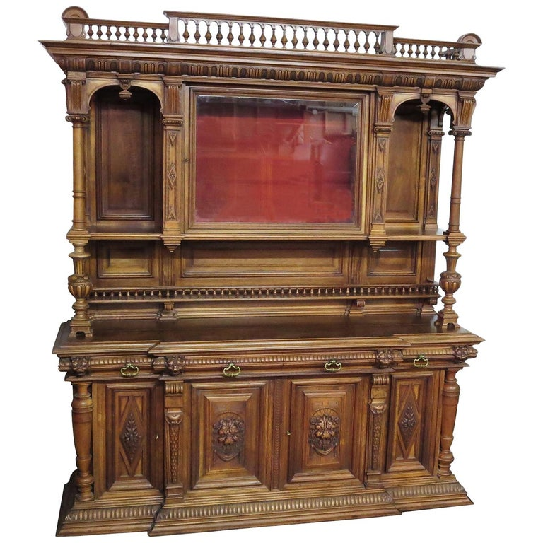 Important Italian Renaissance Sideboard Cabinet, Late 19th Century For Sale