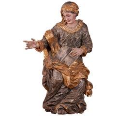 "Important Italian Sculpture ""Saint Anne"", 17th Century"