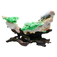 Important Jadeite Jade Decoration, Titled Survival of the Fittest, circa 1930