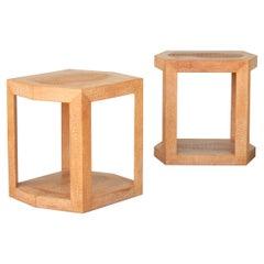 Important Karl Springer Design Leather Clad Side Tables 1987