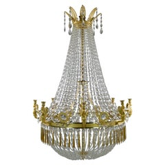 Important Large French Empire Chandelier with Eight Candleholders, Made Ca 1810