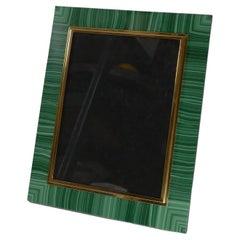 Important Large Italian Malachite and 800 Silver Gilt Photograph Frame