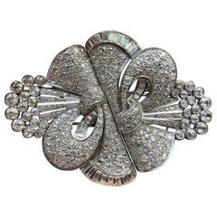 Important Large Size Art Deco Diamond Double Clip Brooch