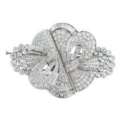 Important Large Size Art Deco Diamond Double Clip Brooch