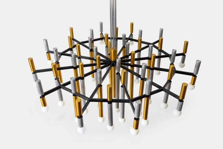 Mid-Century Modern Important Large Stilnovo Chandelier Model 1155/43 For Sale