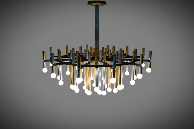Aluminum Important Large Stilnovo Chandelier Model 1155/43 For Sale