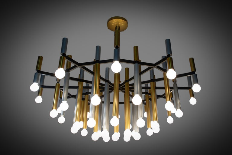 Important Large Stilnovo Chandelier Model 1155/43 For Sale 1