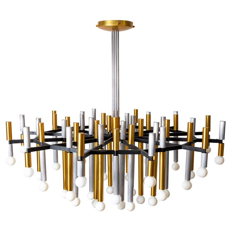 Important Large Stilnovo Chandelier Model 1155/43 For Sale
