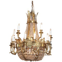 Important late 19th c American Empire Cut Crystal and Bronze Doré Chandelier