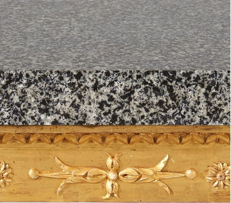 Important Late Gustavian Giltwood Console Table with a Rare Porphyry Top In Good Condition For Sale In Stockholm, SE