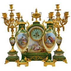 Important Mantel Set in Painted and Gilded Bronze Porcelain